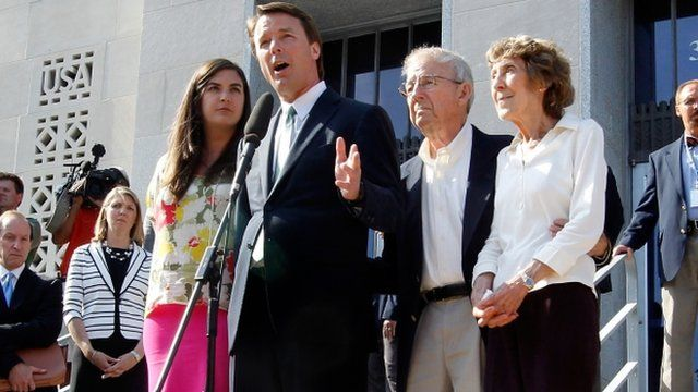 John Edwards addresses the media alongside his daughter Cate Edwards and his parents Wallace and Bobbie Edwards at federal court