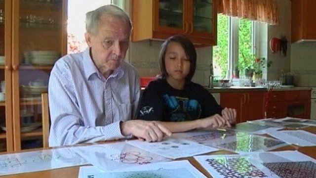 Professor Hovmoller with son Linus