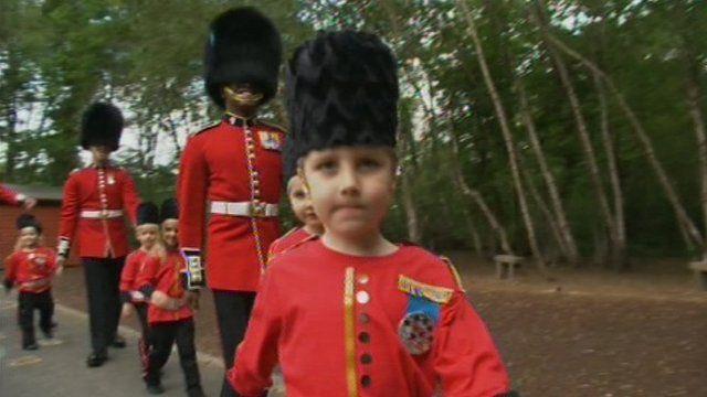 Fleet Infant School children and Irish Guards
