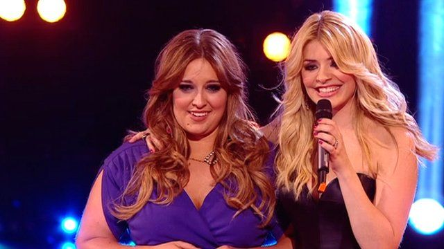 Leanne Mitchell (L) with presenter Holly Willoughby (R)