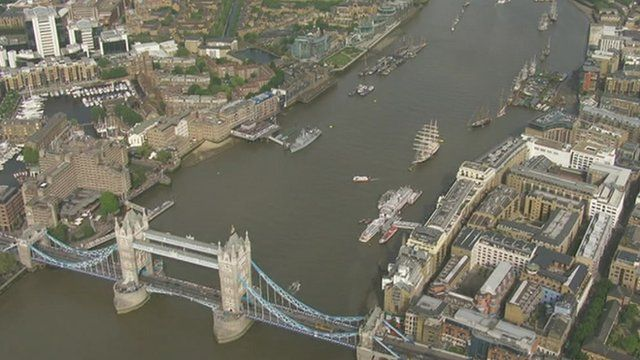 Aerial view of Thames