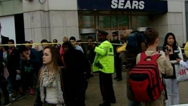 Crowds at Eaton Centre