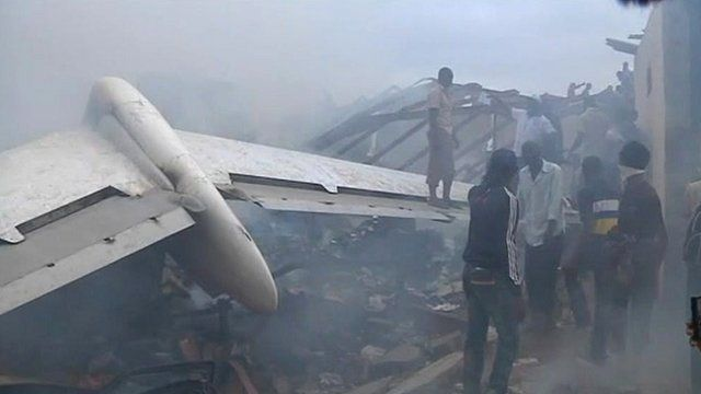 Plane wreckage in Lagos