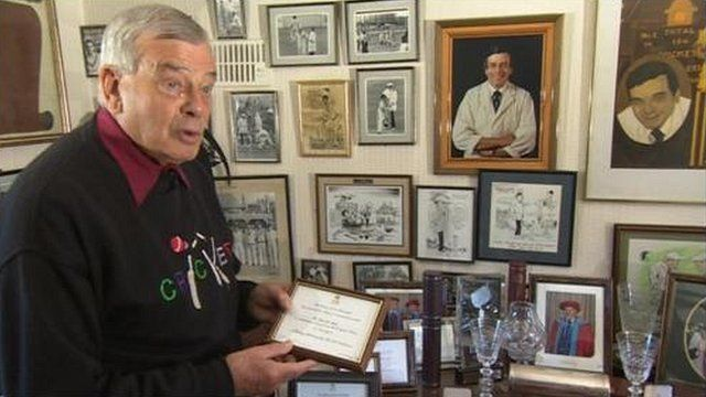 """""""Dickie"""" Bird with some of his memorabilia"""