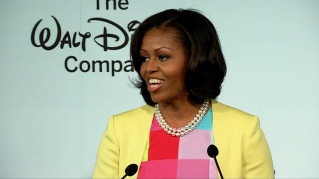 Michelle Obama speaking at Disney's launch event
