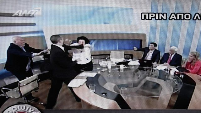 Greek politicians clash on live TV