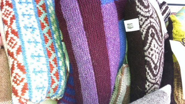 A selection of cushions hand-knitted for Olympic and Paralympic athletes