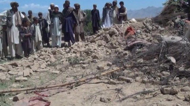 A scene a destruction in Afghanistan