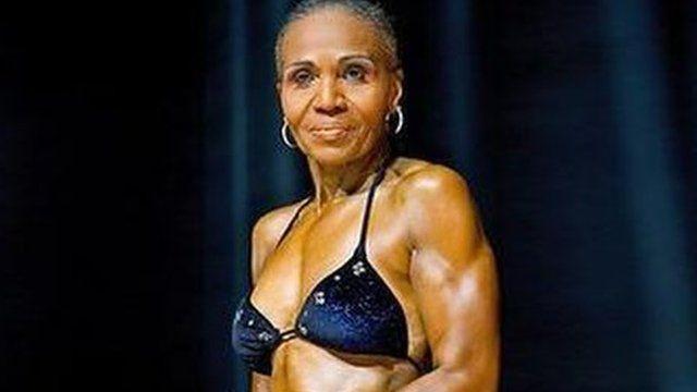 Ernestine Shepherd flexing her muscles