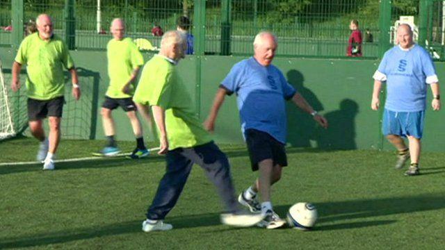 People playing walking football