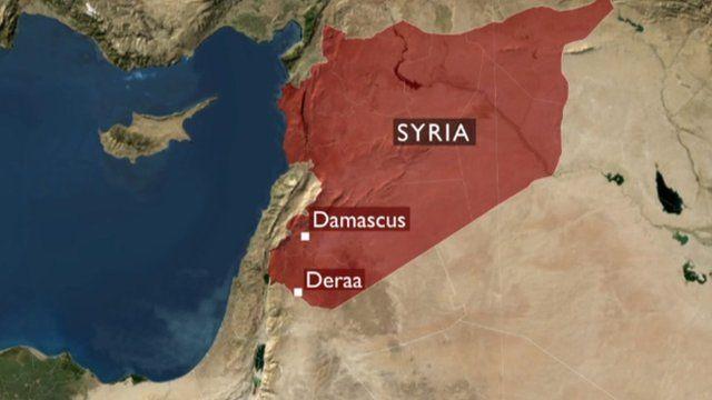 Map showing Deraa