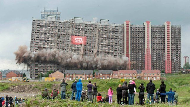 Some of the Red Road flats in Glasgow are demolished