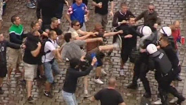 Croatian fans clash with police
