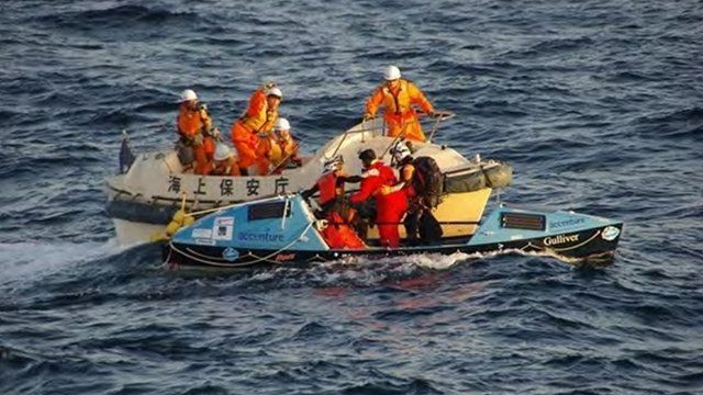 British adventurer Sarah Outen is rescued from the North Pacific