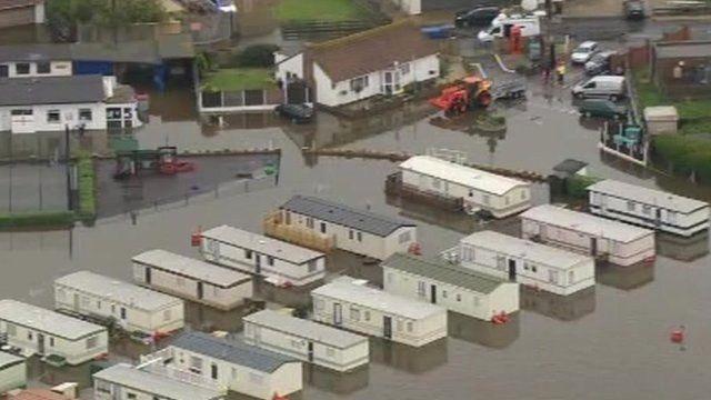 Flooded caravan park