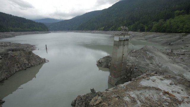 Partially demolished dam in Washington state