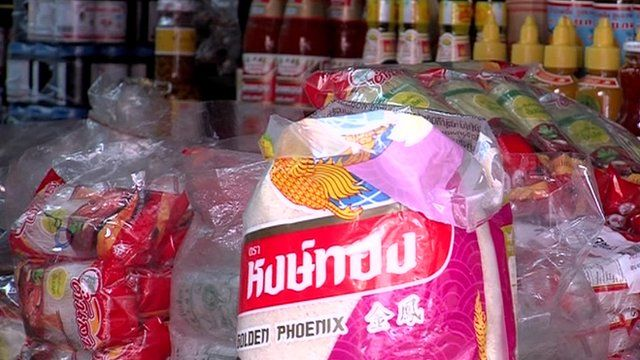 Rice on sale in a Bangkok supermarket