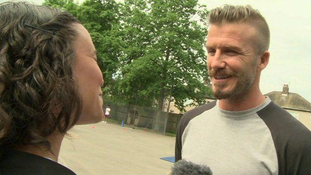 David Beckham interviewed by Newsround's Leah Gooding