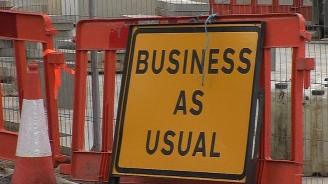 Business as usual sign in Bideford, Devon