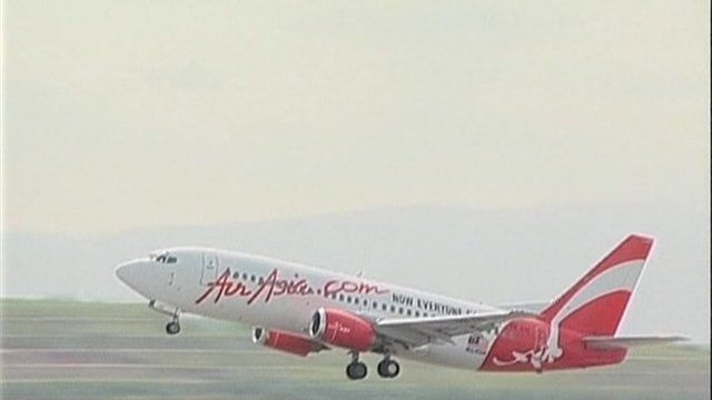 An AirAsia aircraft on take-off.