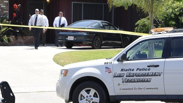 Police at the house where the body of Rodney King was found in Rialto, Los Angeles