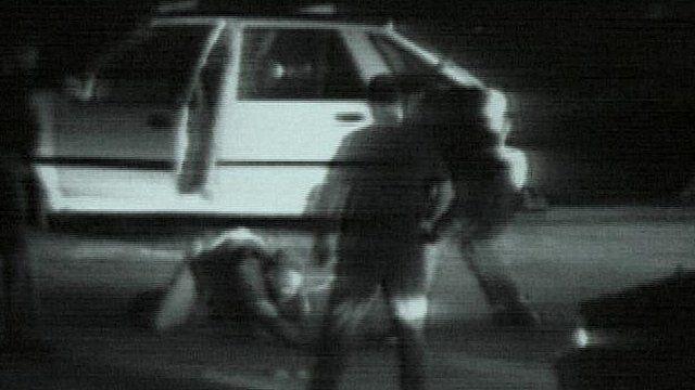 Rodney King being beaten in 1991