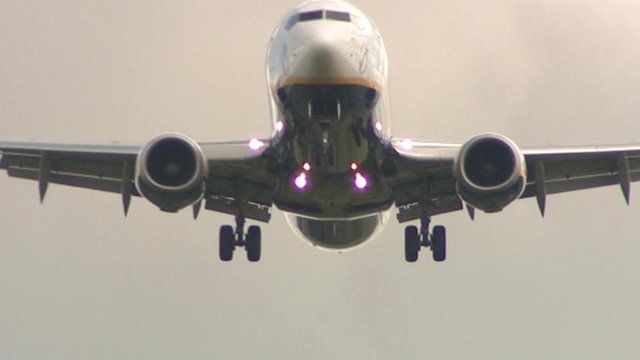 Aircraft taking off at Stansted