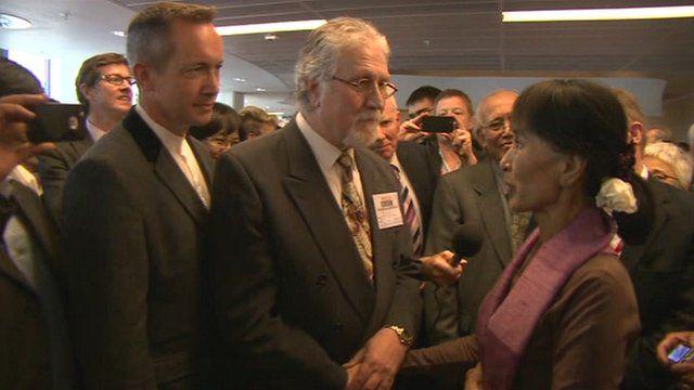 Aung San Suu Kyi meets Dave Lee Travis
