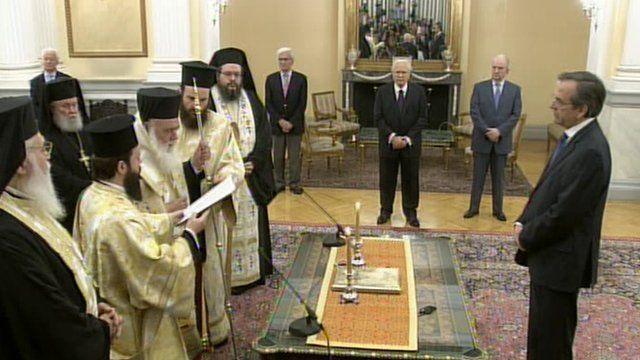 Antonis Samaras being sworn in
