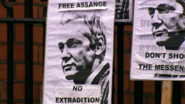 Placards supporting Julian Assange outside Ecuador's Embassy in London