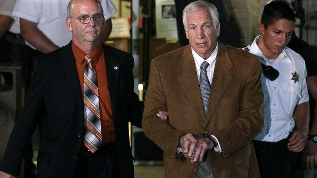 Jerry Sandusky led from court in handcuffs
