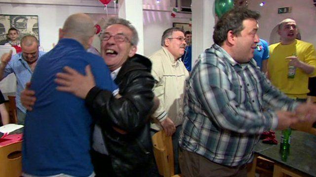 Jubilant Italian fans