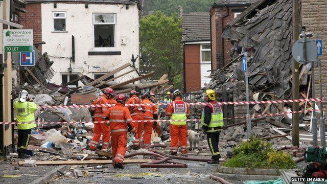 Scene of explosion in Oldham