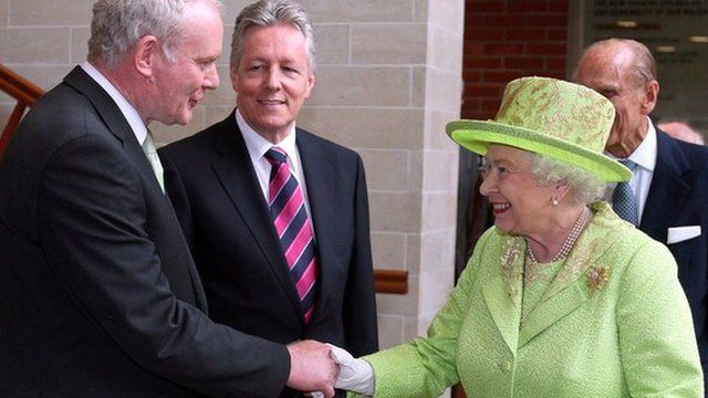 Martin McGuinness shakes hands with the Queen