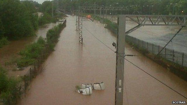 Flooded railway near Carlisle