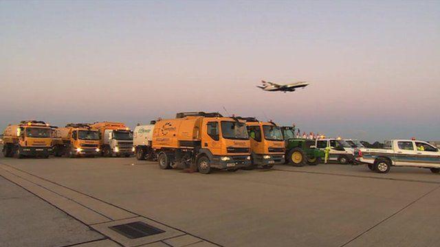 Crews waiting to work on Gatwick's runway