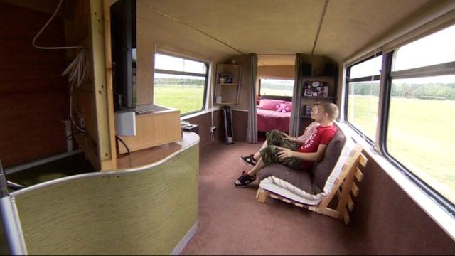 The couple's new home onboard a bus