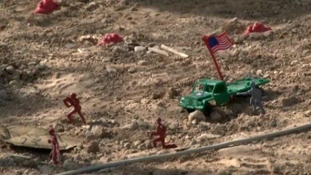 US instructors train the Afghan army in the art of warfare using toy soldiers