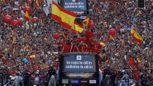 The Spanish national football team parades on July 2, 2012 in Madrid