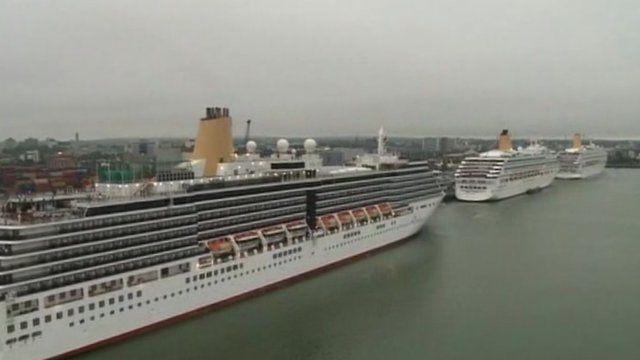 P&O cruise ships docked in Southampton