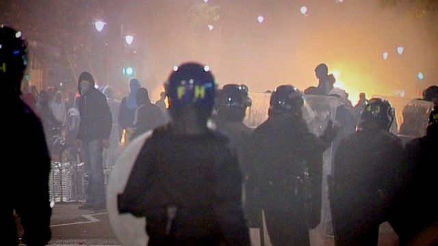 Police and rioters