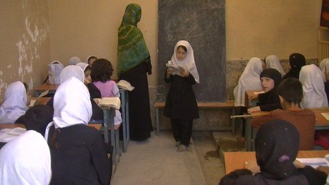 Afghan schoolgirls in classroom