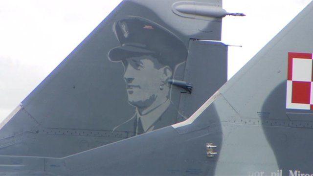 An image of pilot Miroslaw Feric on a Polish jet aircraft