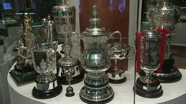 Selection of football trophies