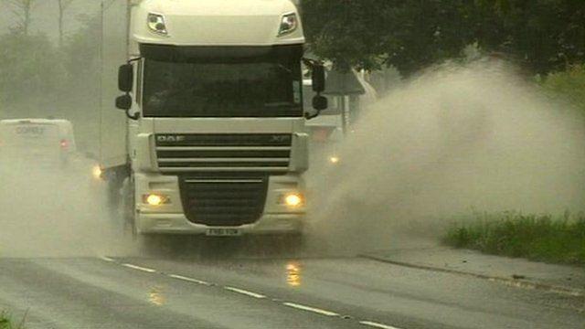 Lorry in rain