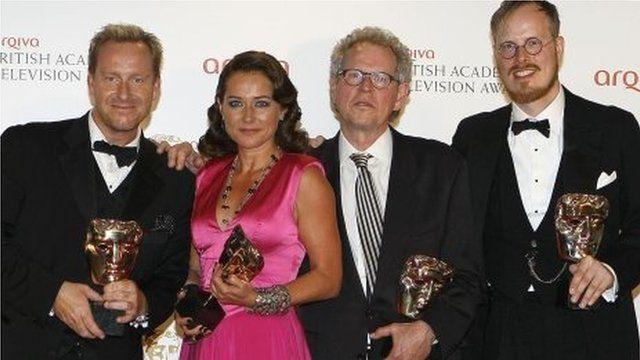 Adam Price, left, Sidse Babett Knuden, second left, Soren Kragh-Jacobsen, second right, and Jeppe Gjeruig-Gram after winning the International Award for Borgen at the British Academy Television Awards