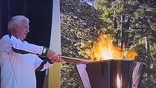 Lighting the cauldron in Luton