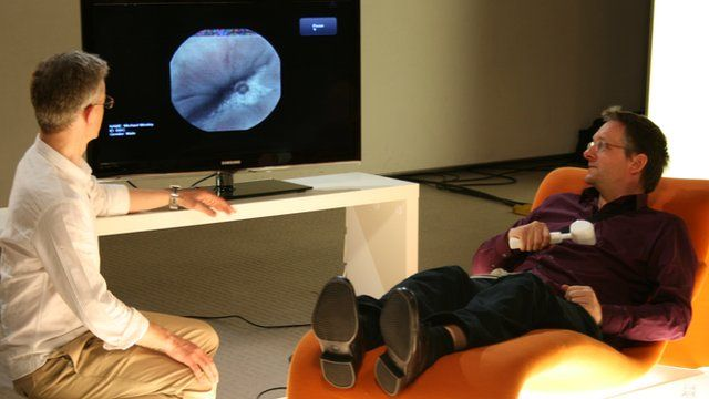 Michael Mosley watches pictures from his own stomach