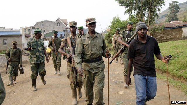 Colonel Sultani Makenga, head of the rebel M23 group, in Bunagana in DRC this week