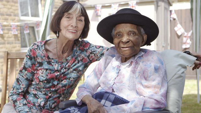 June Brown with Pearl, resident of Silk Court nursing home